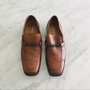Donald J Pliner brown leather loafers size 10.5